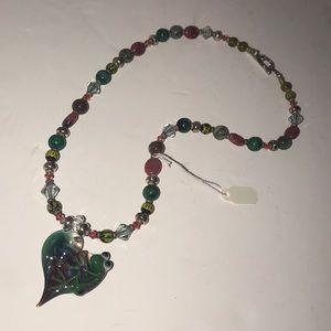 Artisan Lampwork Frog Pendant Necklace New
